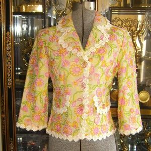 CYNTHIA STEFFE FLORAL EMBROIDERED JACKET S
